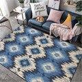 Современная абстракция синяя серая Геометрическая ромбовидная решетка ковер ковры для современной гостиной ковер детская комната спальня...