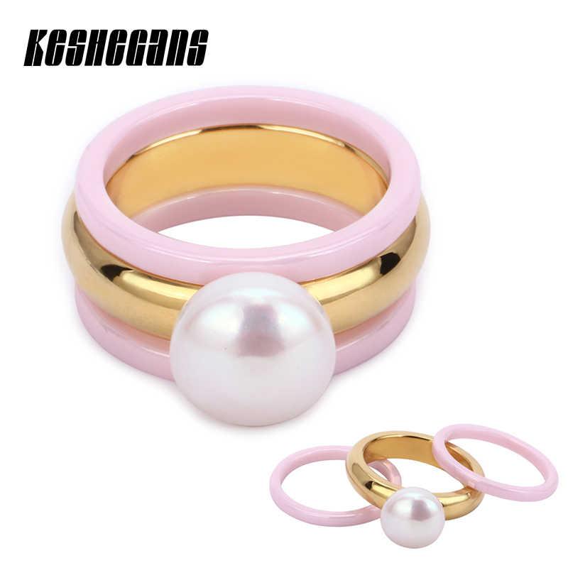 น่ารักน่ารักสีชมพูแหวนเซรามิค 3 ชิ้น/เซ็ตขนาดใหญ่ Elegant ไข่มุกจำลองแหวนสำหรับสุภาพสตรีแฟชั่นเครื่องประดับทุกวัน party