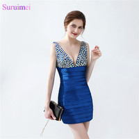 Royal Blue Sexy Cocktail Dresses Beaded Crystals Satin V Back Bandage Dress Short Prom Party Gown