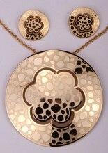 Aretes collar de la flor sets JN76 dropship venta al por mayor de las mujeres regalos de joyas de acero inoxidable plata antigua chapado en oro