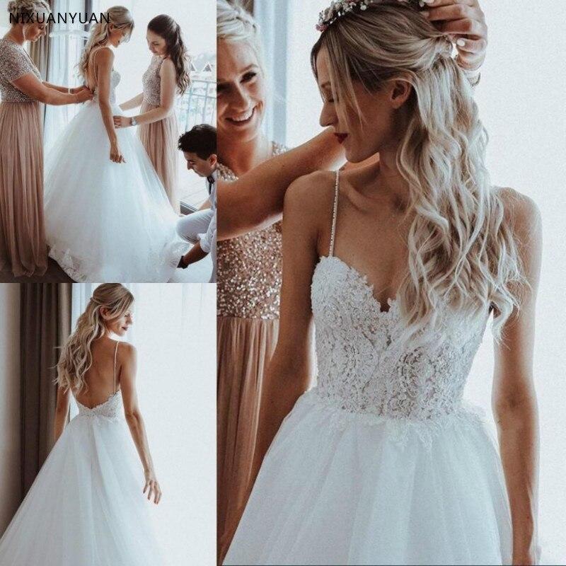 2019 perles perles Tulle une ligne Boho robes de mariée balayage Train bretelles Spaghetti plage robes de mariée Appliques robes de mariée