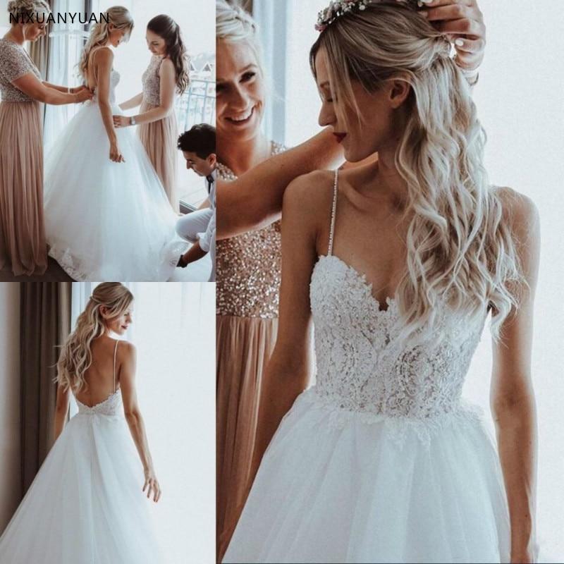 White//Ivory Lace Chiffon Beach Wedding Dress Boho Sweep Train Custom Bridal Gown