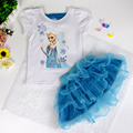 2017 Girls Clothes Elsa Dress Princess Children Clothing Set Kids T-shirt Tops Layered Tutu Skirts Party Dress Summer Wear  New
