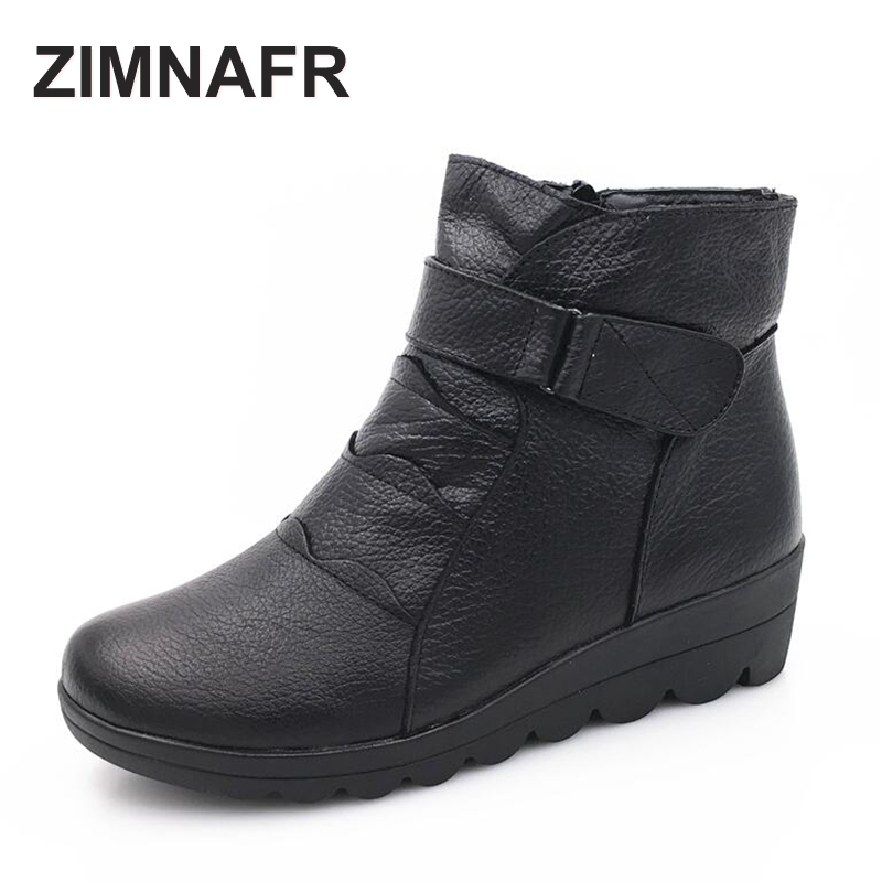 2016 new woman brand snow boots woman zip genuine leather boots cotton padded winter shoes warm