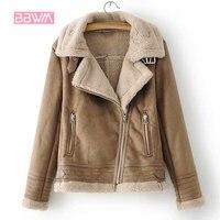 Winter warm women's 2018 new women's stitching suede texture jacket fashion wild plus velvet thick zipper female jacket