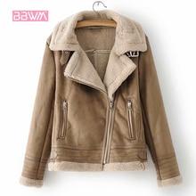 Зимняя теплая Женская 2018 Новая женская прошитая замшевая текстурная куртка модная дикая плюс бархатная толстая молния Женская куртка