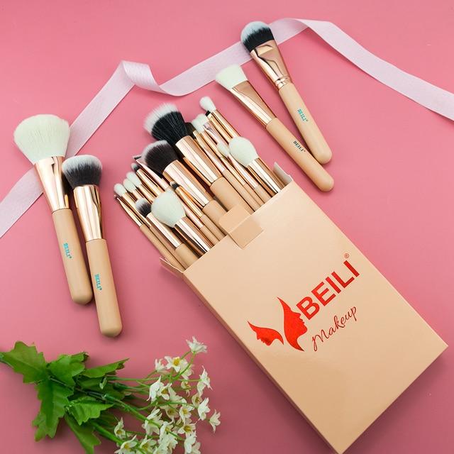 BEILI Pink Makeup Brushes High Quality Powder Foundation Blush Eyeshadow Make Up Brush Set  Natural Hair  brochas maquillaje 6
