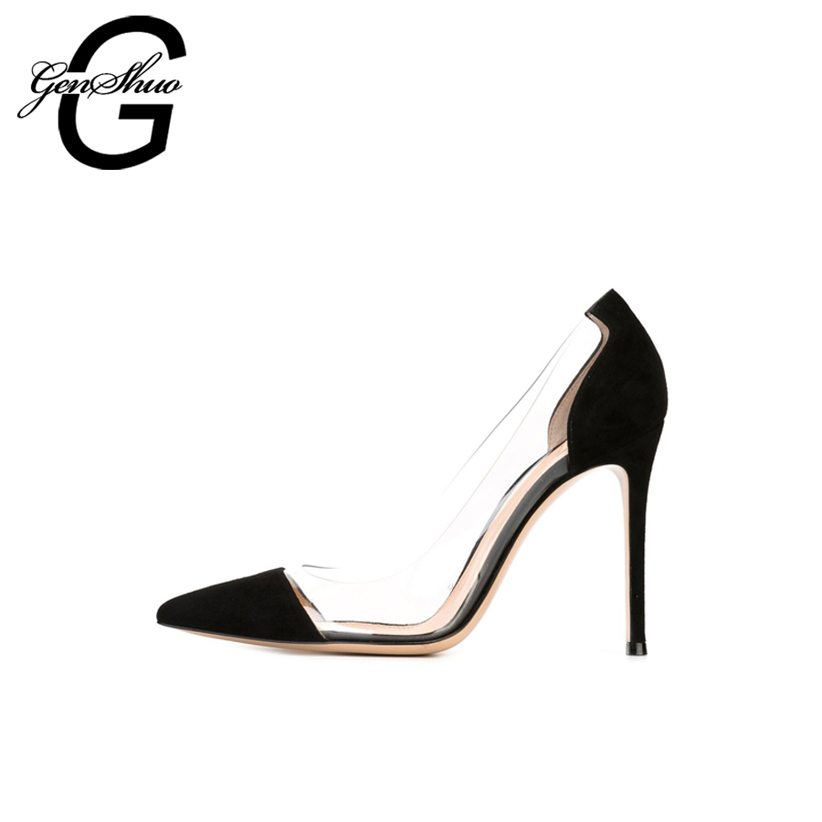 GENSHUO 2017 Women Sexy Valentine Pointed Toe Stiletto High Heels Shoes Ladies Wedding Dress Bridal Designer Pumps Zapatos Mujer