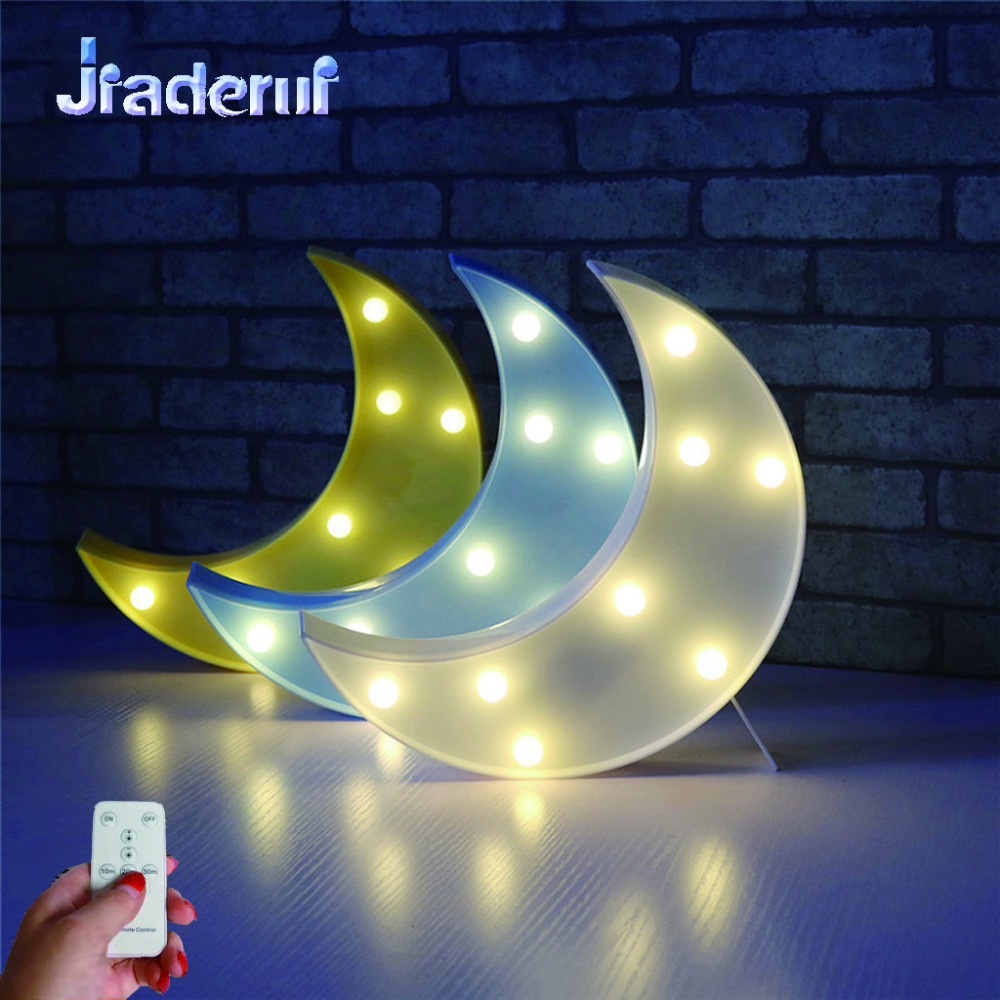 Jiaderui LED Baby 3D Night Light With Controller Moon Shap Creative Cute Lights For Kids Bedroom Decor Childrens Gift Toys Lamp