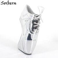 Sorbern металлическое серебро балетные костюмы на каблуке Женская обувь кружево до пикантные Фетиш Высокий каблук туфли лодочки Pole Dance унисекс