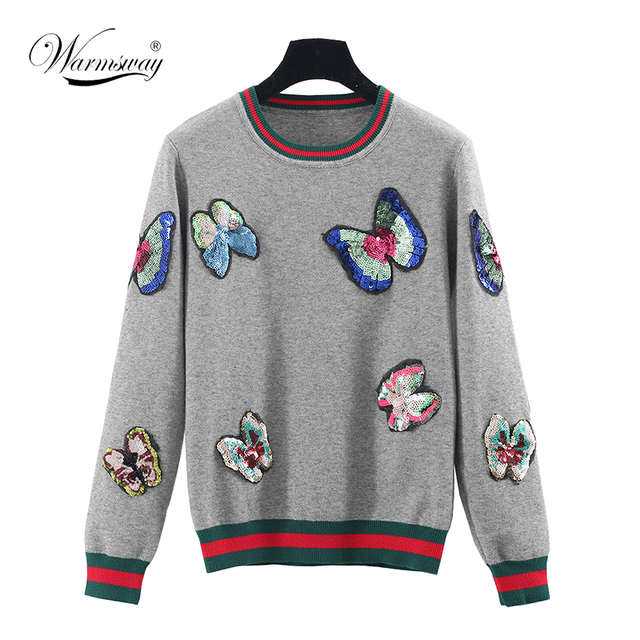 sequins embroidery butterfly sweater pullover autumn women slim o-neck long-sleeve knitted WS-066