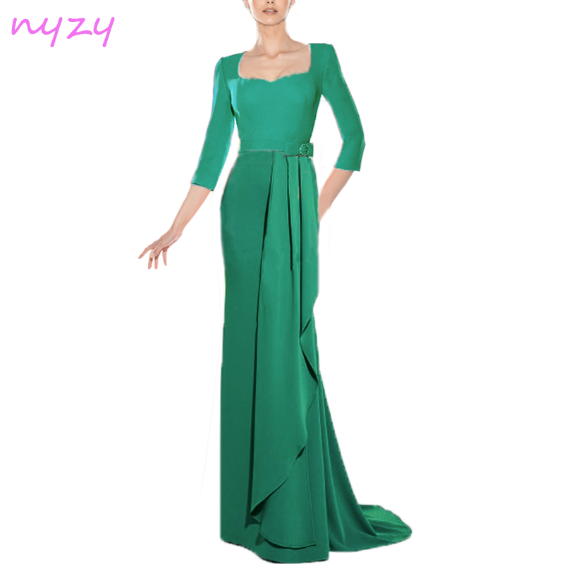 NYZY C31 Long Cocktail Dress A-Line Chiffon 3/4 Sleeves Robe Longue 2019 Wedding Party Evening Formal Gown Red Blue Green Purple