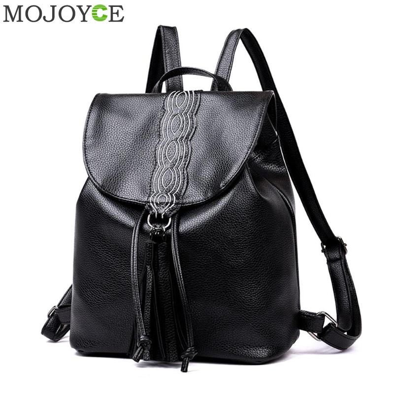 New Travel Backpack Korean Women Solid Backpack 2018 Fashion Female Rucksack Leisure Student School Bags Soft PU Leather Daypack