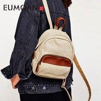 EUMOAN Small backpack female casual Mori canvas shoulder bag school bag trend wild mini backpack