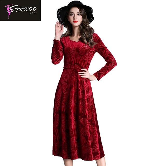 2018 Women Elegant Velvet Dress Plus Size S XXL Autumn Winter Long ...