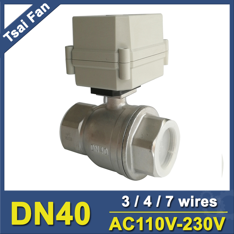 3/4/7 Wires AC110V-220V Actuator Ball Valve 2 Way Stainless Steel 1-1/4'' DN40 Electric Water Valve On/Off 15 Sec 10Nm брюки greg horman цвет темно синий