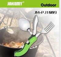 JAKEMY תכליתי כיס חיצוני מתקפל כלי שולחן נירוסטה פותחן בקבוקי כפית מזלג סכין סט כלי JM-PJ1009