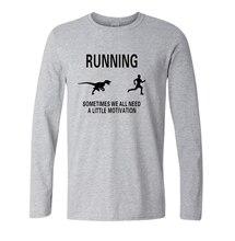 Motivation Raptor Shirt Funny Dinosaur Tee to Motivate Runners fashion t shirts male long sleeve tshirt 2016 autumn shirts S-XXL