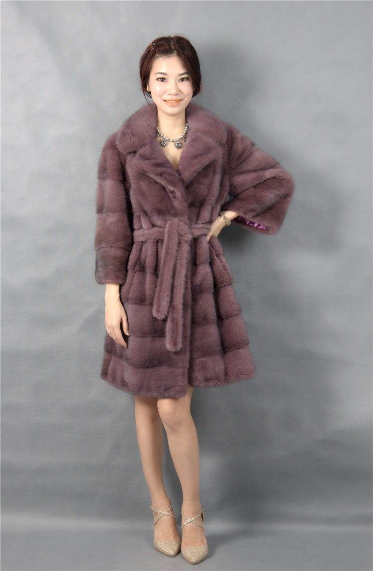 Echter Nerzmantel mit Umlegekragen Lichtfarbe 100% natürlicher - Damenbekleidung - Foto 4