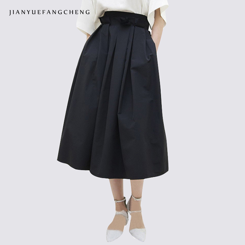 Fashion High Waist A Line Summer Skirt 2018 Women Plus Size Black Midi Skirt All-match Zipper   Mid-calf Jupe Female Bottoms