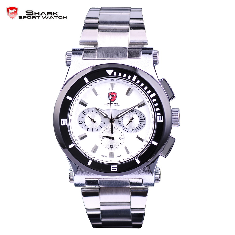 Nurse Shark Sport Watch Men Luxury White 3D 6 Hands Date 24Hr Fashion Quartz Full Stainless Steel Strap Wrist Watches Gif/SH024 top brand luxury digital led analog date alarm stainless steel white dial wrist shark sport watch quartz men for gift sh004