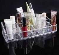 Kadın Moda Güzellik Tasarımcı Kozmetik Kutusu Şeffaf Akrilik 24 Ruj Tepsi Kozmetik Organizatör Ekran Tutucu Stand