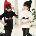 2015 Dongkuan Kids T-shirts for boys and girls love turtleneck sweater bottoming thick cashmere sweater 2-7 years