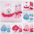 4pcs/ sets Baby Girl Clothing Sets Newborn Spring Cartoon Anna Elsa Romper Infant Birthday Tutu Dress Clothes Toddler Costume