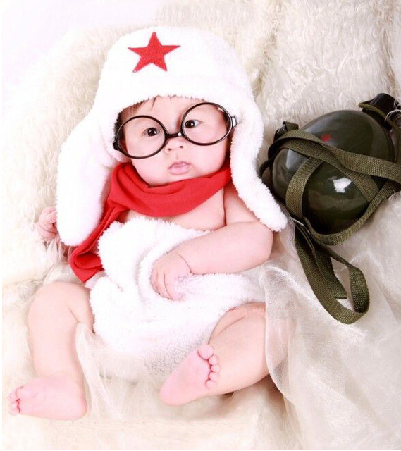Cotton pure color newborn photography props baby hat shorts scarf and glasses set handmade crochet toddler