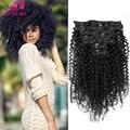 Kinky Curly Clip В Человеческих Волос Бразильского Виргинские Человеческих Волос Афро-Американских Клип В Наращивание Волос 7А Класс Запаслись