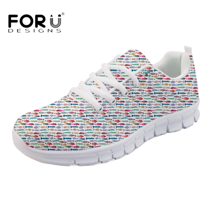 FORUDESIGNS Small Colorful Folk Fish Pattern Lace-up Flats Women Breathable Mesh Sneakers Light Mesh Flat Shoes Girls Zapatos