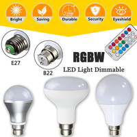 Dimmable 10W RGB LED Light Bulb E27 B22 Lamp Wireless Milight With Remote Rontrol Spotlight Bulb