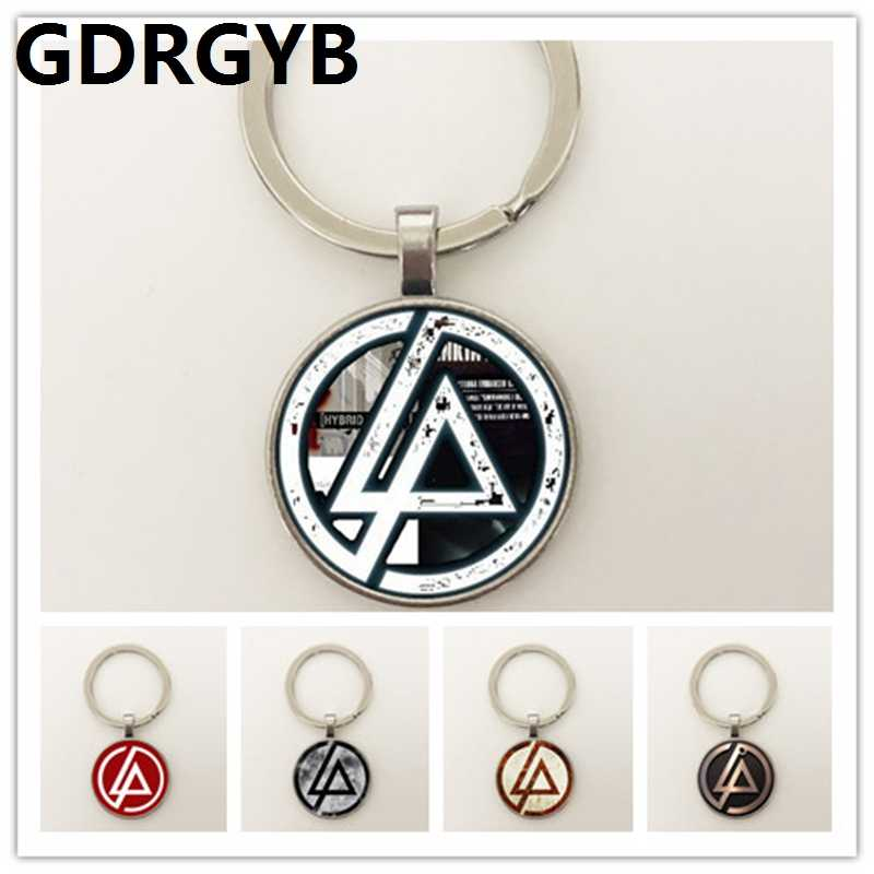 GDRGYB 2019 Hot Fashion Linkin Park logo Key buckle Linkin Park Jewelry Glass Dome Key buckle Men and children party gifts