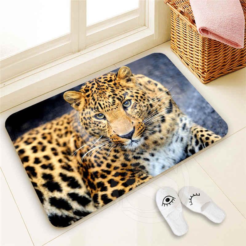 H-P326 leopardo Costume #3 Capacho Home Decor 100% Poliéster Padrão capacho Tapete almofada do pé SQ00722-@ h0326