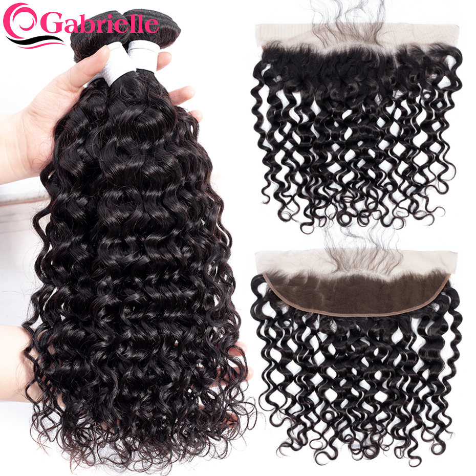 Gabrielle Human Hair Water Wave Bundles with 13x4 Lace Frontal Brazilian Remy Hair Weave Bundles with