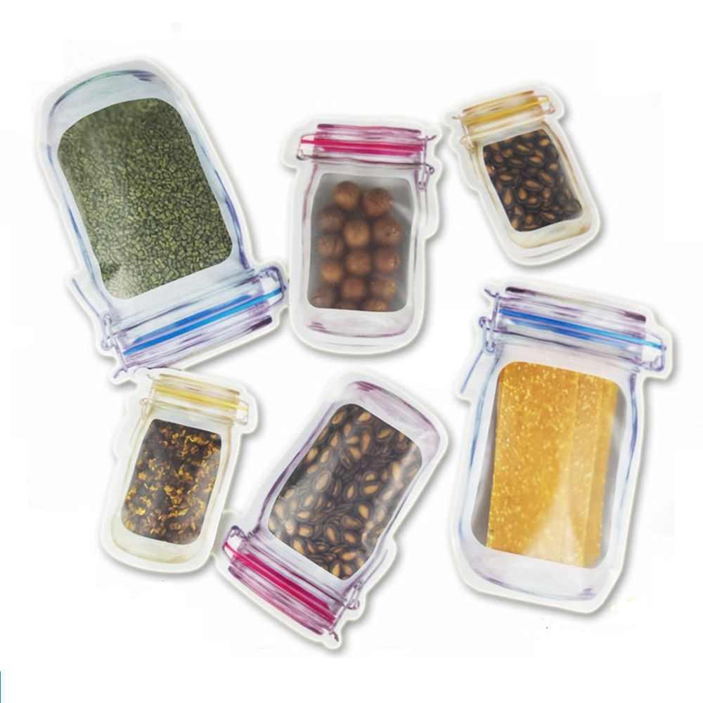 1Pcs בקבוק צורת אחסון ברור שקית פלסטיק בבאגי גריפ עצמי חותם ניתן לאטימה החוזרת Reclosable נעילת מיקוד תיק לבית ושונות מחסני