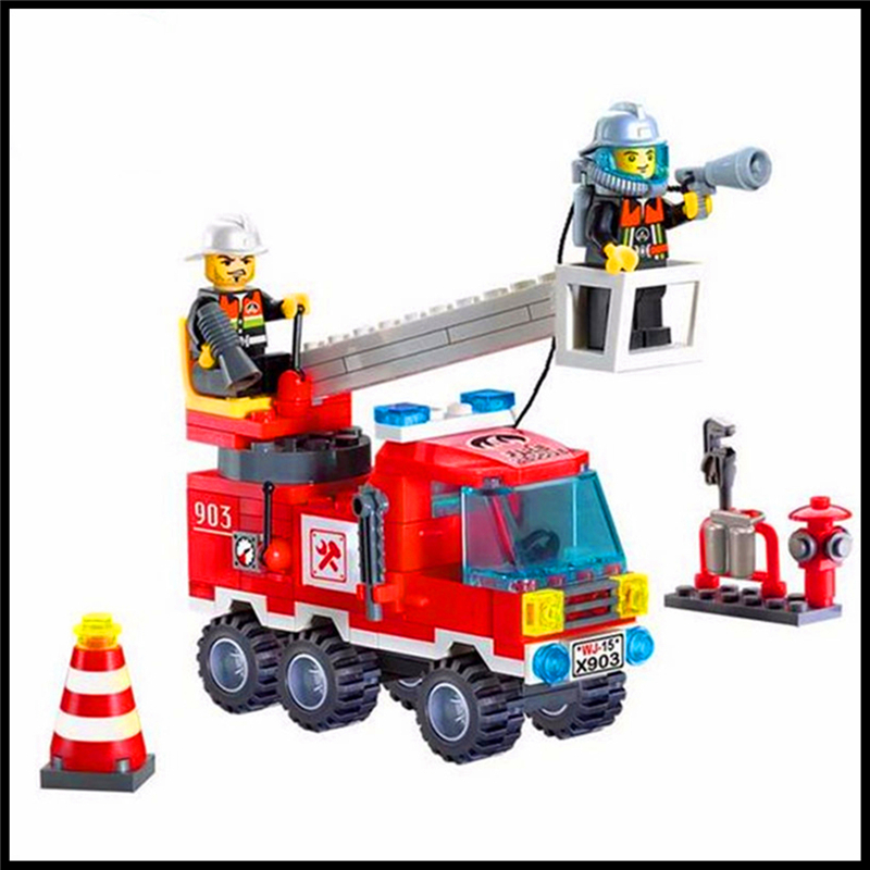 130Pcs Building Block Toys 2 In 1 Fire Fighting Truck Model ENLIGHTEN 903 Figure Brinquedos Gift For Children Compatible Legoe jie star fire ladder truck 3 kinds deformations city fire series building block toys for children diy assembled block toy 22024