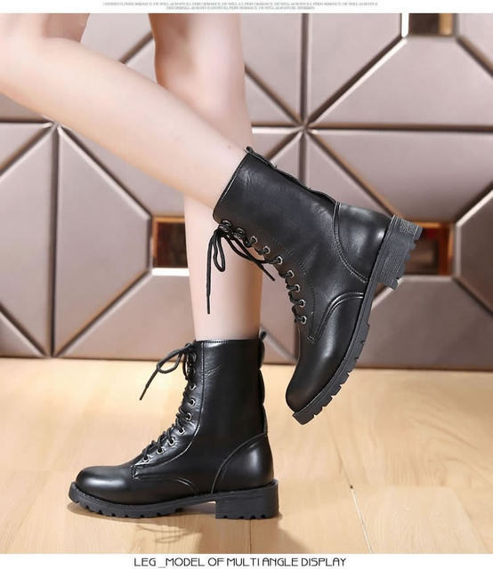 2019 New Buckle Winter Motorcycle Boots Women British Style Ankle Boots Gothic Punk Low Heel ankle Boot Women Shoe Plus Size 43 22