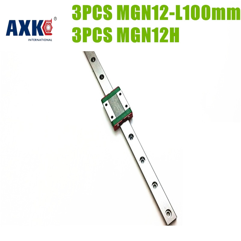 AXK free shipping 12mm linear guide rail made in china mgn12  3PCS linear rail  L100mm + 3pcs MGN12H block  for 3d printer axk mr12 miniature linear guide mgn12 long 400mm with a mgn12h length block for cnc parts free shipping