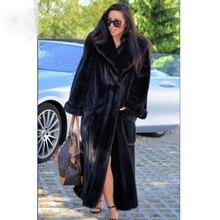 BFFUR veste dhiver pour femme, manteau de vison court, épais et chaud avec fourrure naturelle, col rabattu, 2020