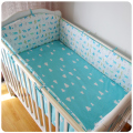 5 Pcs/Sets Farmhouse Style Cotton Baby Bed Sets Cartoon Patterns Collision Avoidance Crib Bumper Sheets Baby Bedding