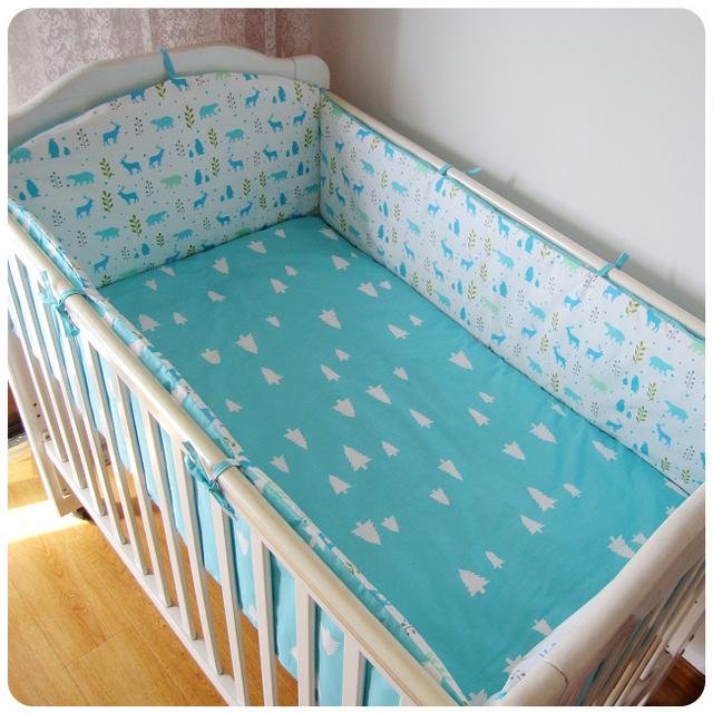5 unids/set granja estilo de algodón juegos de cama de bebé de dibujos animados patrones anticolisión tope del pesebre hojas bebé bedding