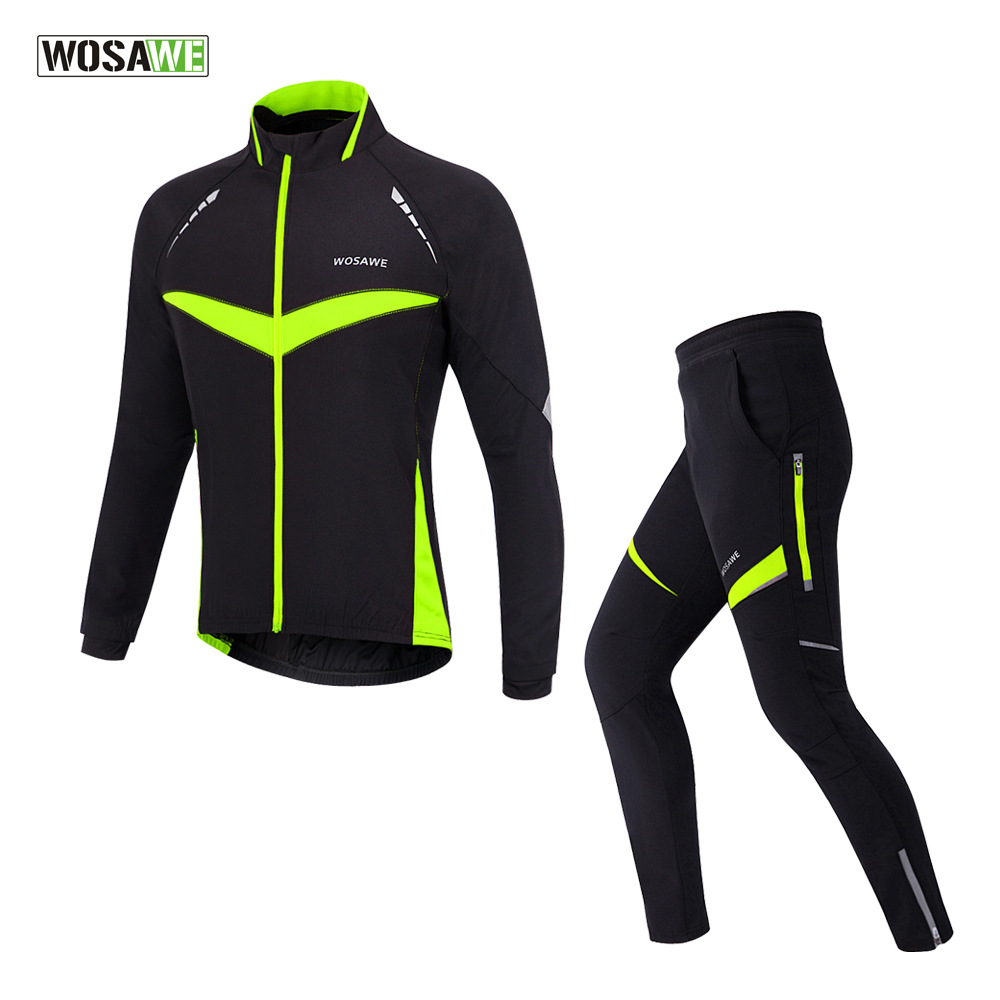 WOSAWE Winter Fleece Cycling Sets Suits Bicycle Thermal Jacket Bike Trousers Windproof Waterproof Cycling Clothing Sportswear