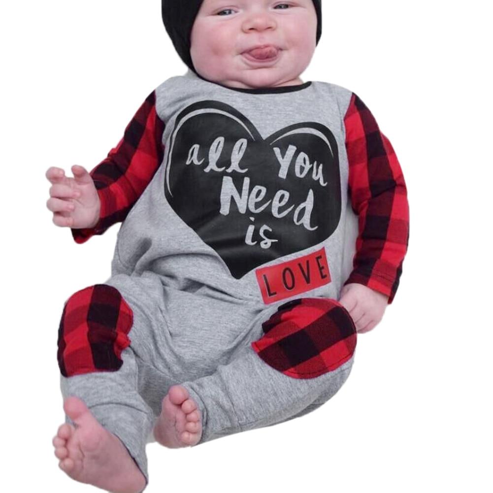 2db Baby Black és Red Plaids nyomtatási romperek + fejpánt - Bébi ruházat