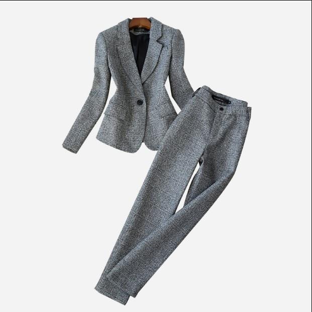 2018 nuevo Otoño Invierno mujer de manga larga de lana traje chaqueta + lápiz pantalones dos piezas señoras profesional pantalones de traje