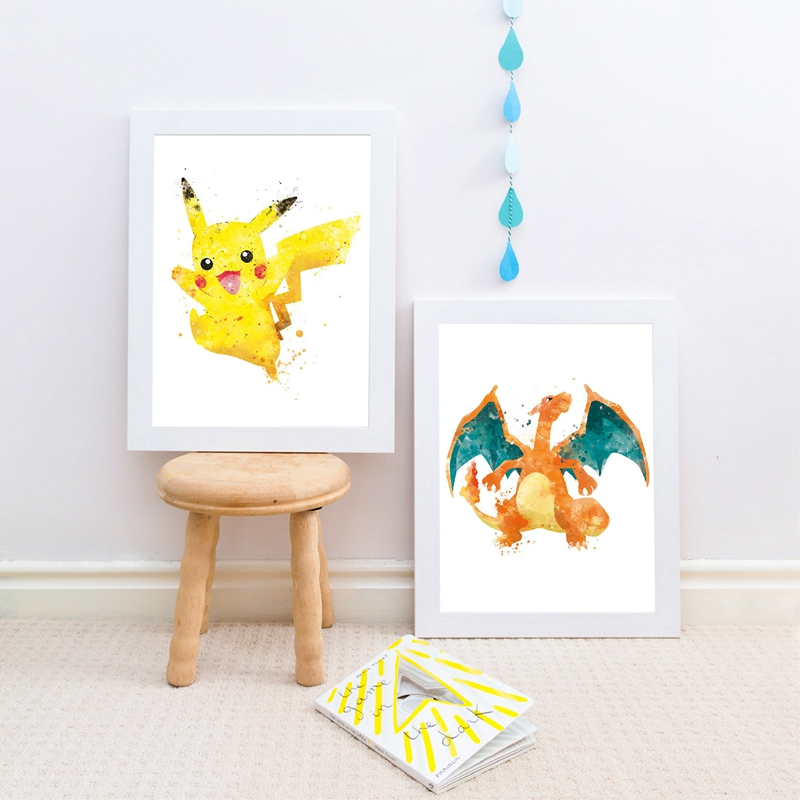 Pokemon CANVAS PRINT Home Wall Decor Giclee Art Poster Charizard Pikachu CA322