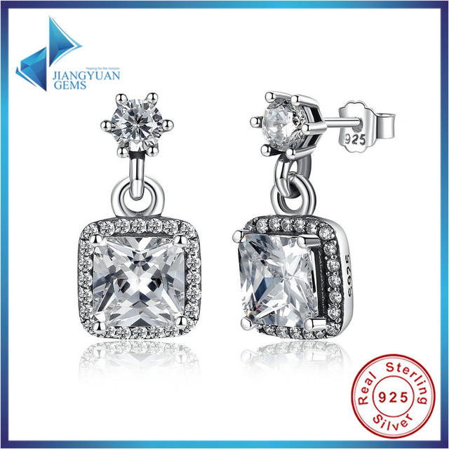 Fashion 100% 925 Sterling Silver Asscher & Round Cut Timeless Elegance, Clear CZ Stud Earrings Wedding Fine Jewelry PAS459