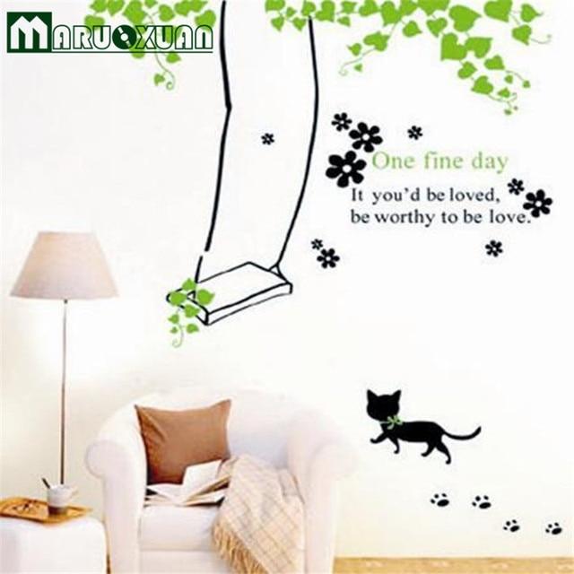 abnehmbare kinderzimmer kindergarten klassenzimmer dekoration aufkleber cartoon kitty schaukel. Black Bedroom Furniture Sets. Home Design Ideas