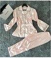 Женская Шелковый Атлас Пижамы Пижамы Набор Пижамы Loungewear Плюс Размер S, M, L, Xl, Xxl Крытый Женский Пижамы Пижамы Loungewear