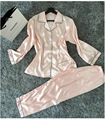 Womens Silk Satin Pajamas Pyjamas Set Sleepwear Loungewear Plus Size S M L Xl Xxl Indoor Female Sleepwear Sleepwear Loungewear